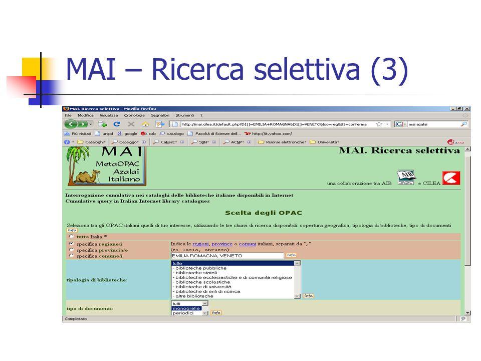 MAI – Ricerca selettiva (3)