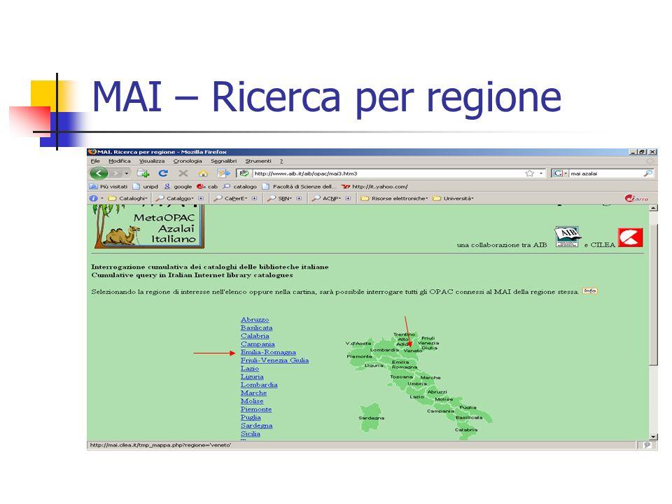 MAI – Ricerca per regione