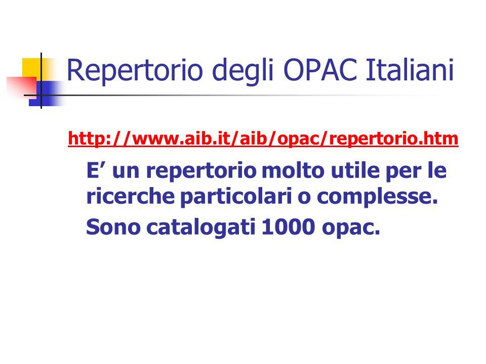 Repertorio degli OPAC Italiani http://www.aib.it/aib/opac/repertorio.htm E un repertorio molto utile per le ricerche particolari o complesse.