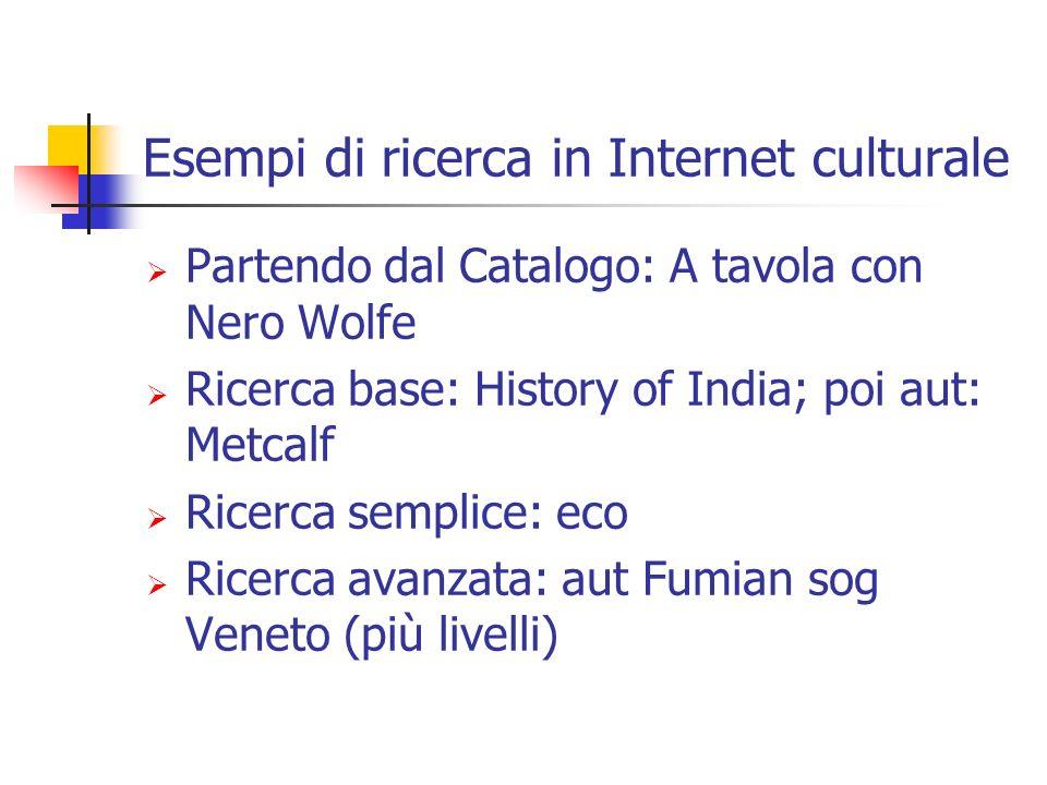 Esempi di ricerca in Internet culturale Partendo dal Catalogo: A tavola con Nero Wolfe Ricerca base: History of India; poi aut: Metcalf Ricerca semplice: eco Ricerca avanzata: aut Fumian sog Veneto (più livelli)