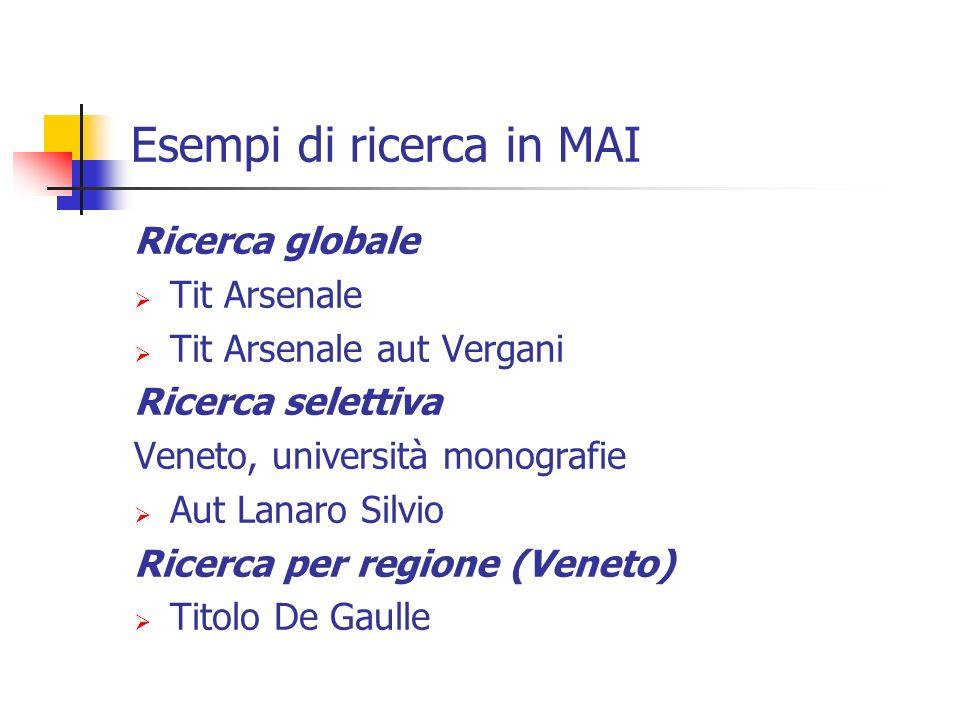 Esempi di ricerca in MAI Ricerca globale Tit Arsenale Tit Arsenale aut Vergani Ricerca selettiva Veneto, università monografie Aut Lanaro Silvio Ricerca per regione (Veneto) Titolo De Gaulle