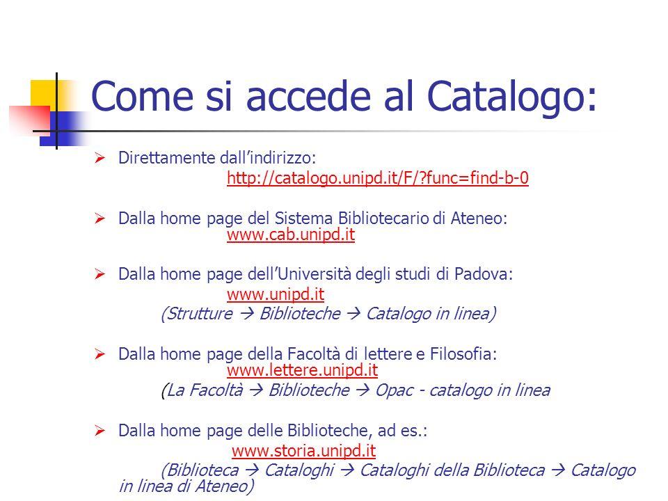 Come si accede al Catalogo: Direttamente dallindirizzo: http://catalogo.unipd.it/F/ func=find-b-0 Dalla home page del Sistema Bibliotecario di Ateneo: www.cab.unipd.it www.cab.unipd.it Dalla home page dellUniversità degli studi di Padova: www.unipd.it (Strutture Biblioteche Catalogo in linea) Dalla home page della Facoltà di lettere e Filosofia: www.lettere.unipd.it www.lettere.unipd.it (La Facoltà Biblioteche Opac - catalogo in linea Dalla home page delle Biblioteche, ad es.: www.storia.unipd.it (Biblioteca Cataloghi Cataloghi della Biblioteca Catalogo in linea di Ateneo)