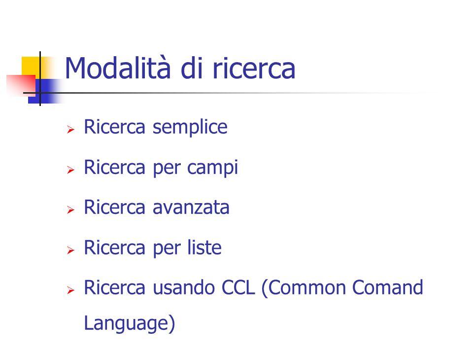 Modalità di ricerca Ricerca semplice Ricerca per campi Ricerca avanzata Ricerca per liste Ricerca usando CCL (Common Comand Language)