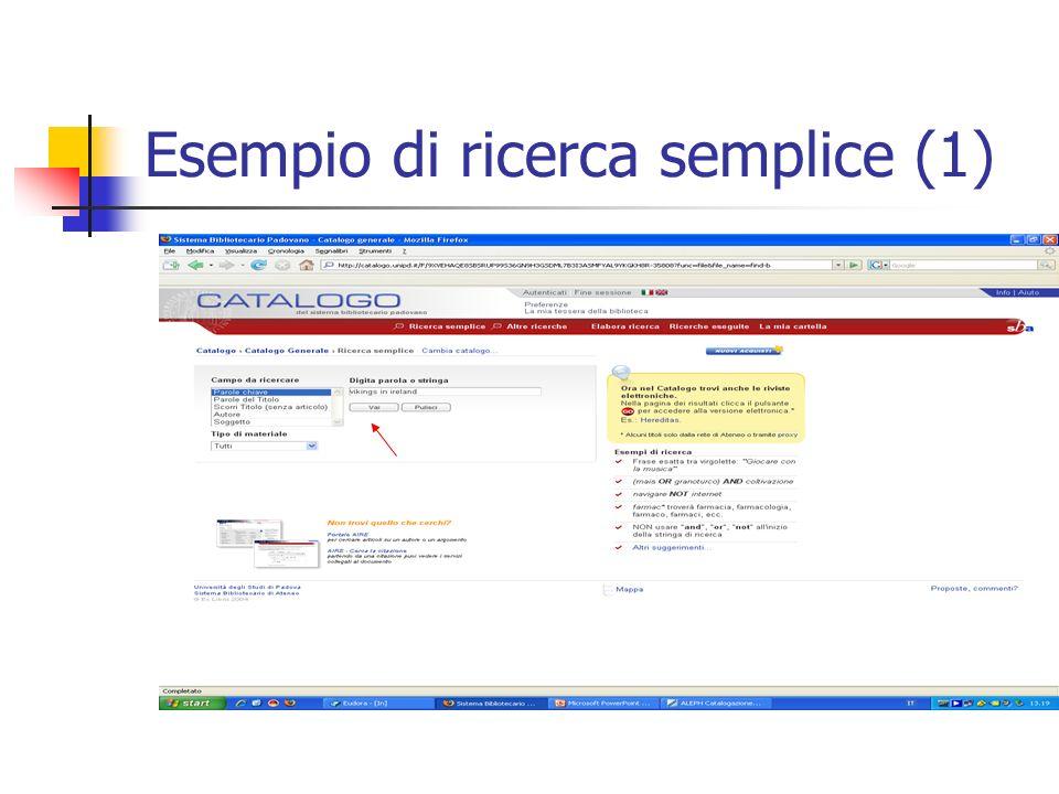 Esempio di ricerca semplice (1)