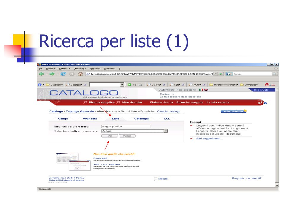 Ricerca per liste (1)
