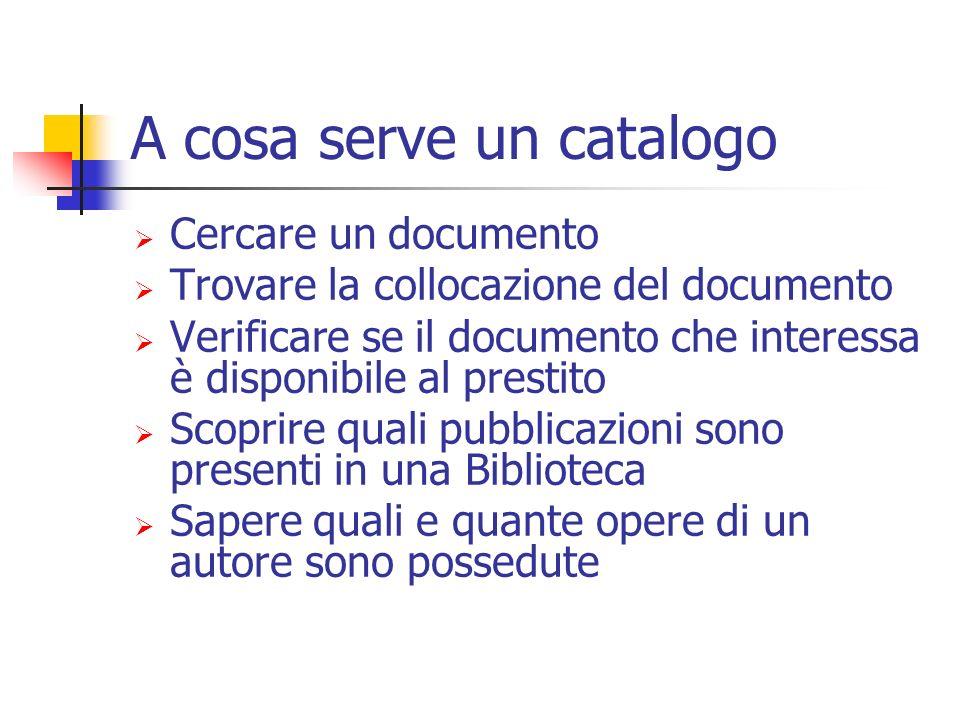 A cosa serve un catalogo Cercare un documento Trovare la collocazione del documento Verificare se il documento che interessa è disponibile al prestito Scoprire quali pubblicazioni sono presenti in una Biblioteca Sapere quali e quante opere di un autore sono possedute