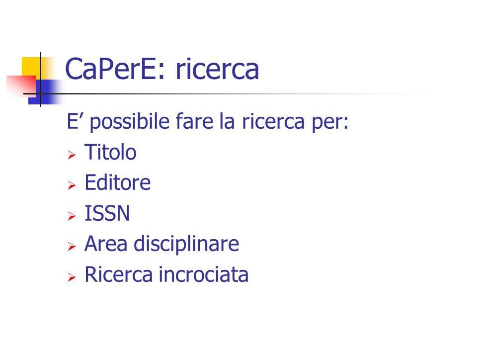 CaPerE: ricerca E possibile fare la ricerca per: Titolo Editore ISSN Area disciplinare Ricerca incrociata