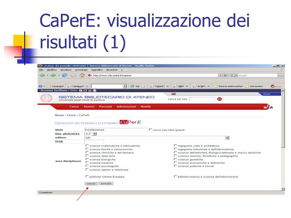 CaPerE: visualizzazione dei risultati (1)