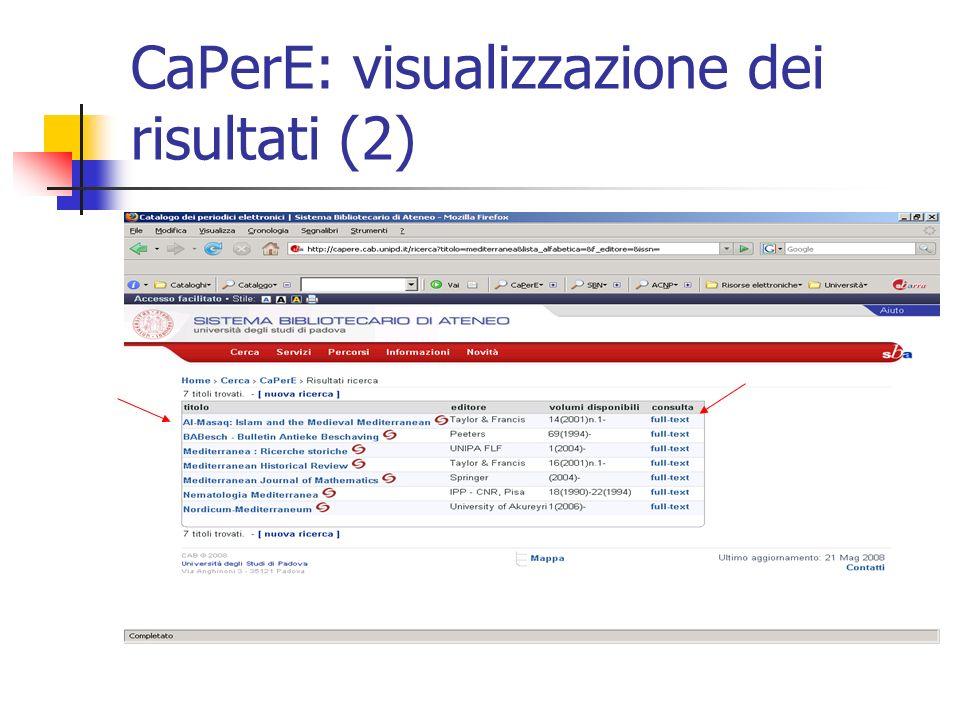 CaPerE: visualizzazione dei risultati (2)