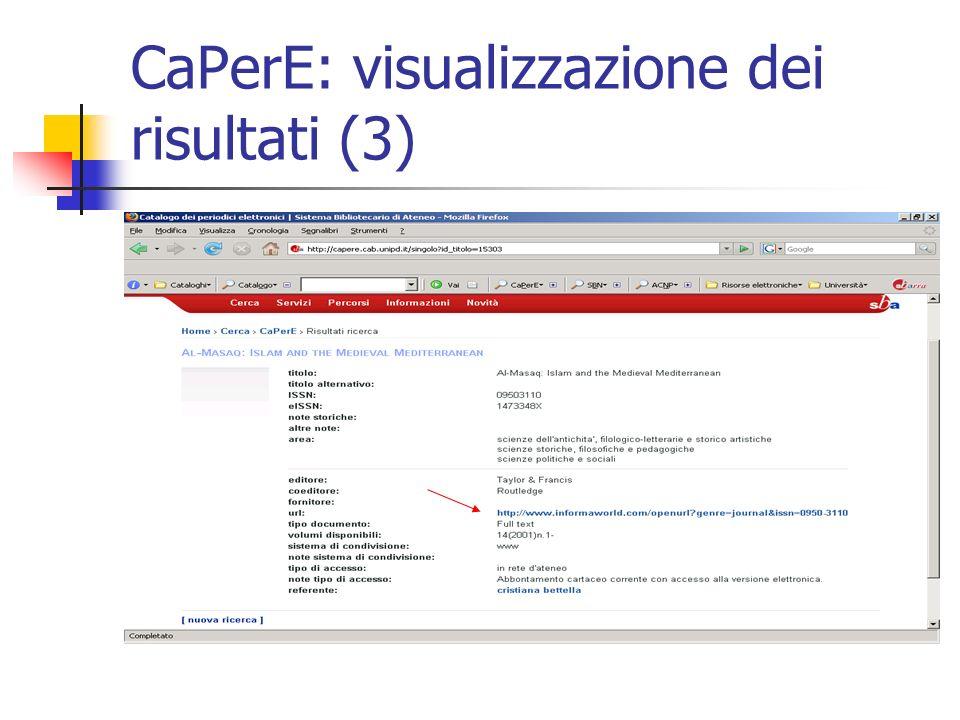 CaPerE: visualizzazione dei risultati (3)