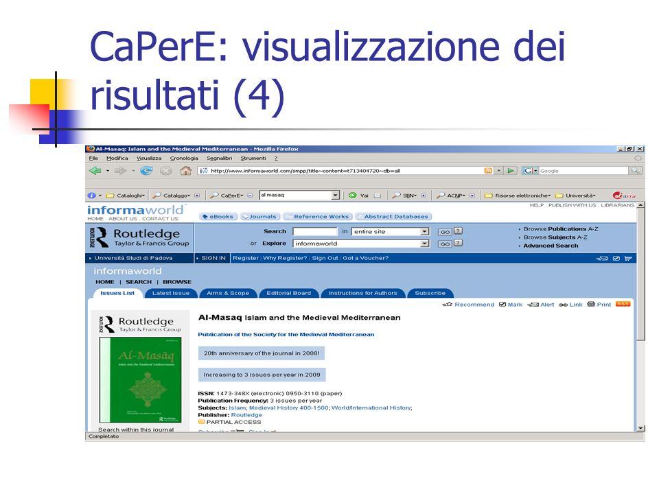 CaPerE: visualizzazione dei risultati (4)