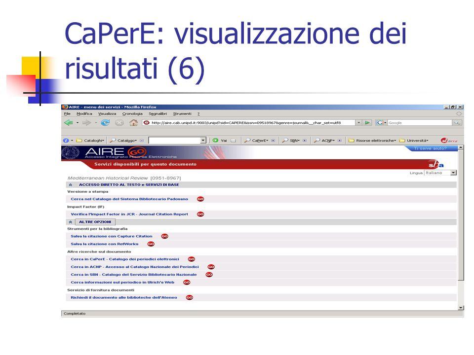 CaPerE: visualizzazione dei risultati (6)