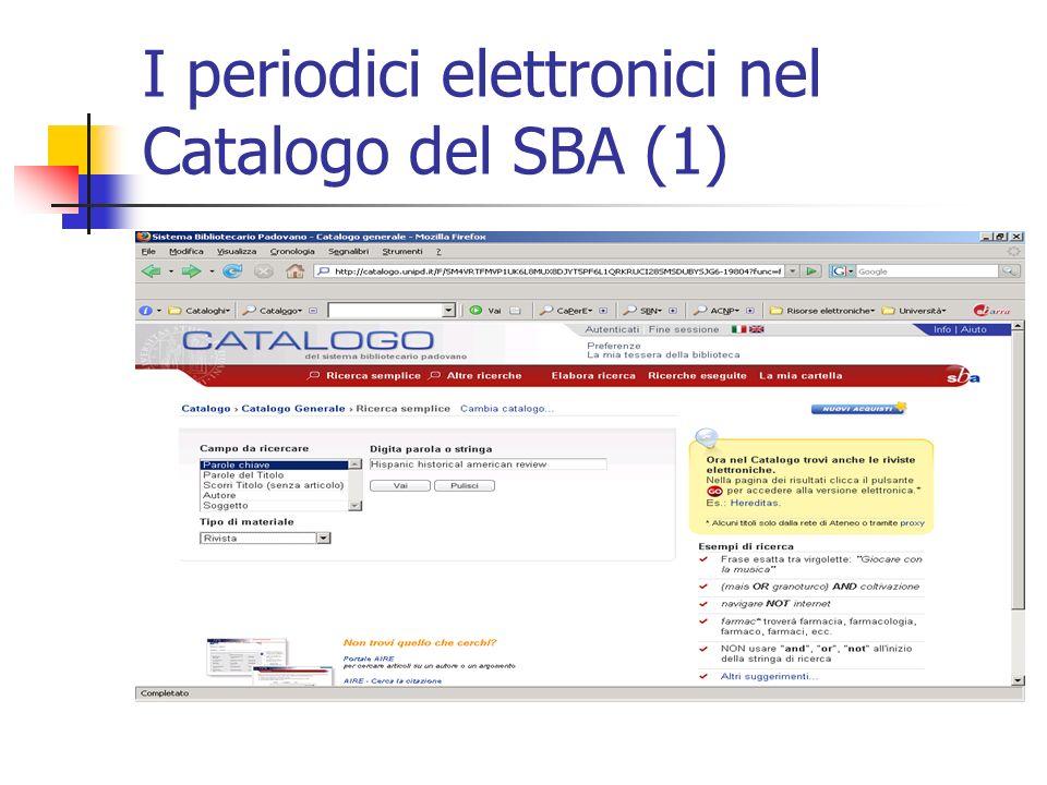 I periodici elettronici nel Catalogo del SBA (1)