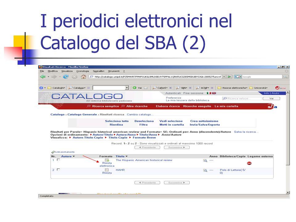 I periodici elettronici nel Catalogo del SBA (2)