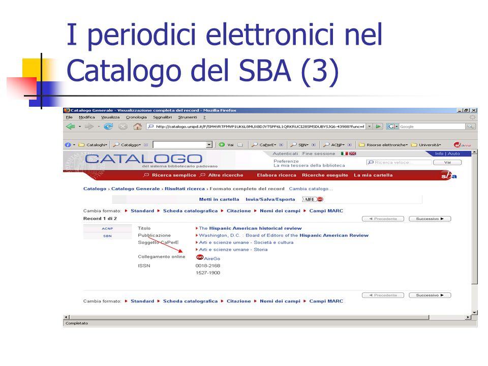 I periodici elettronici nel Catalogo del SBA (3)