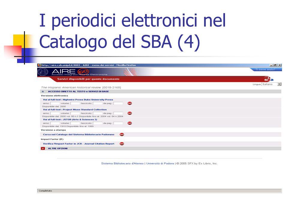 I periodici elettronici nel Catalogo del SBA (4)