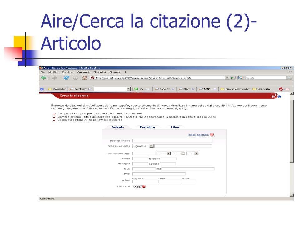 Aire/Cerca la citazione (2)- Articolo