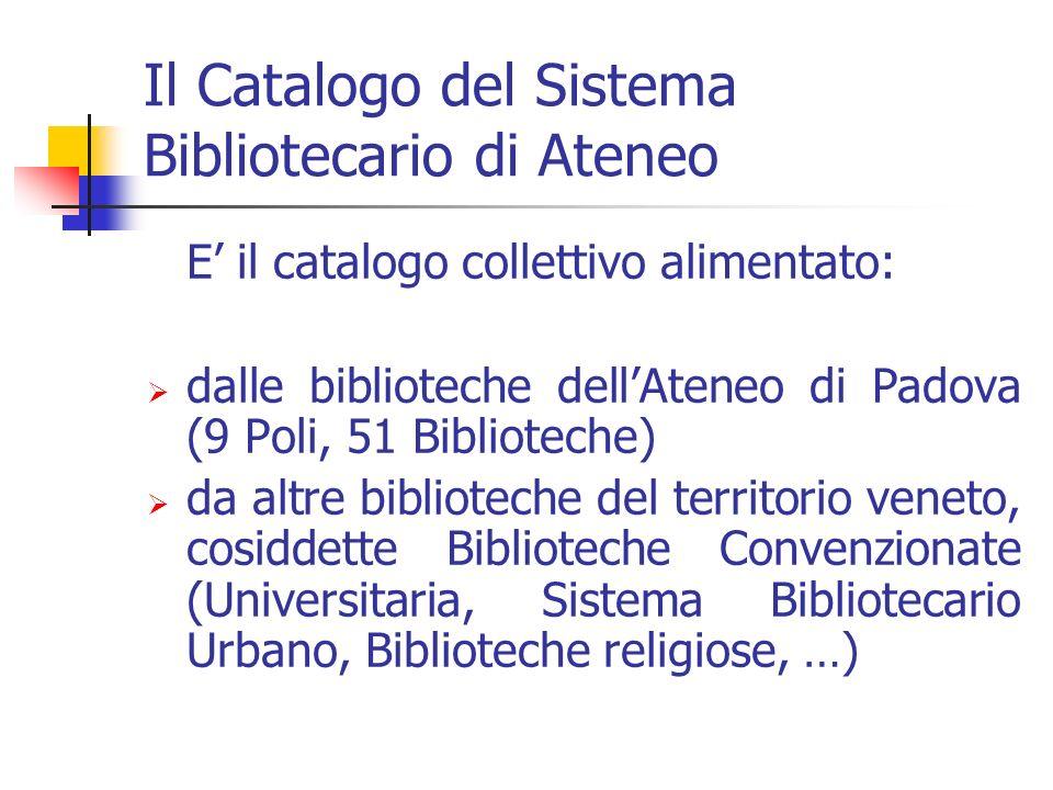 Il Catalogo del Sistema Bibliotecario di Ateneo E il catalogo collettivo alimentato: dalle biblioteche dellAteneo di Padova (9 Poli, 51 Biblioteche) da altre biblioteche del territorio veneto, cosiddette Biblioteche Convenzionate (Universitaria, Sistema Bibliotecario Urbano, Biblioteche religiose, …)