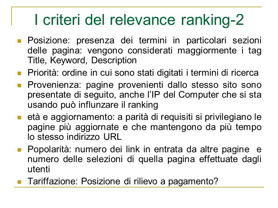 I criteri del relevance ranking-2 Posizione: presenza dei termini in particolari sezioni delle pagina: vengono considerati maggiormente i tag Title, K