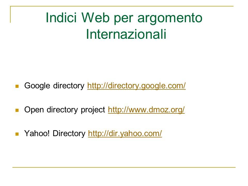 Indici Web per argomento Internazionali Google directory http://directory.google.com/http://directory.google.com/ Open directory project http://www.dm