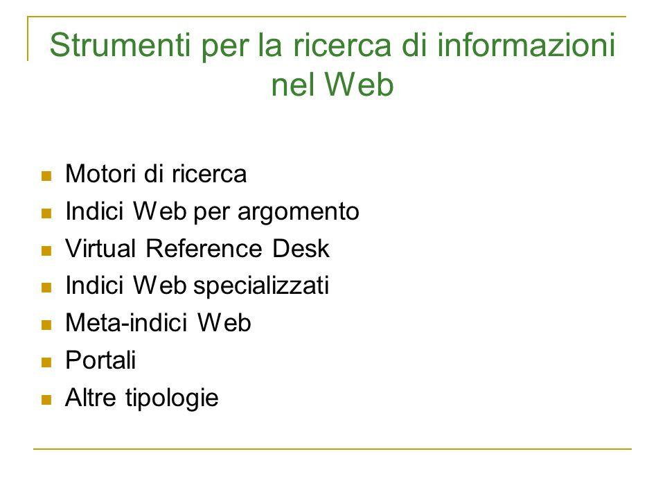 Strumenti per la ricerca di informazioni nel Web Motori di ricerca Indici Web per argomento Virtual Reference Desk Indici Web specializzati Meta-indic