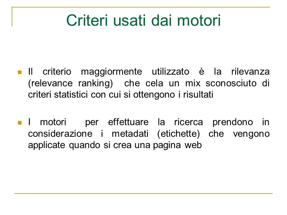 Criteri usati dai motori Il criterio maggiormente utilizzato è la rilevanza (relevance ranking) che cela un mix sconosciuto di criteri statistici con
