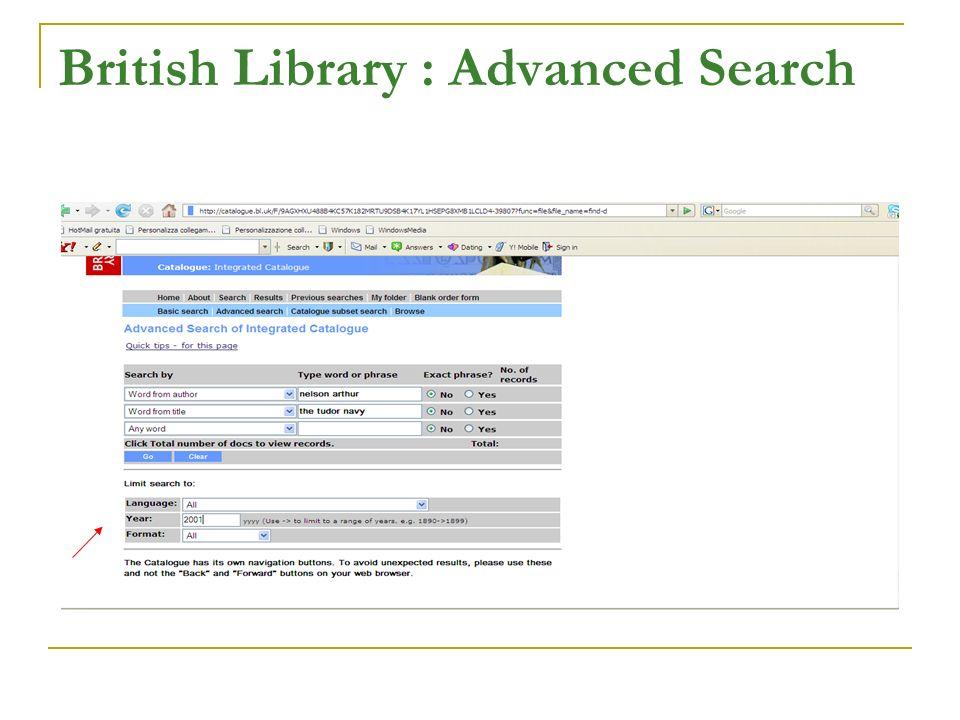 British Library : Advanced Search