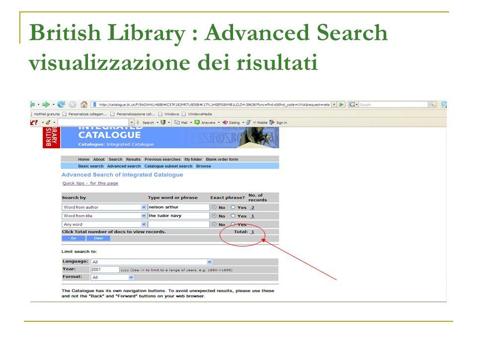 British Library : Advanced Search visualizzazione dei risultati