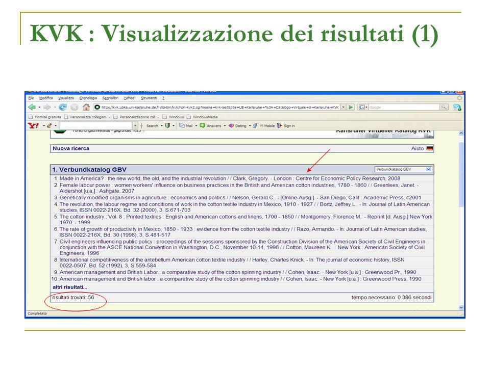 KVK : Visualizzazione dei risultati (1)