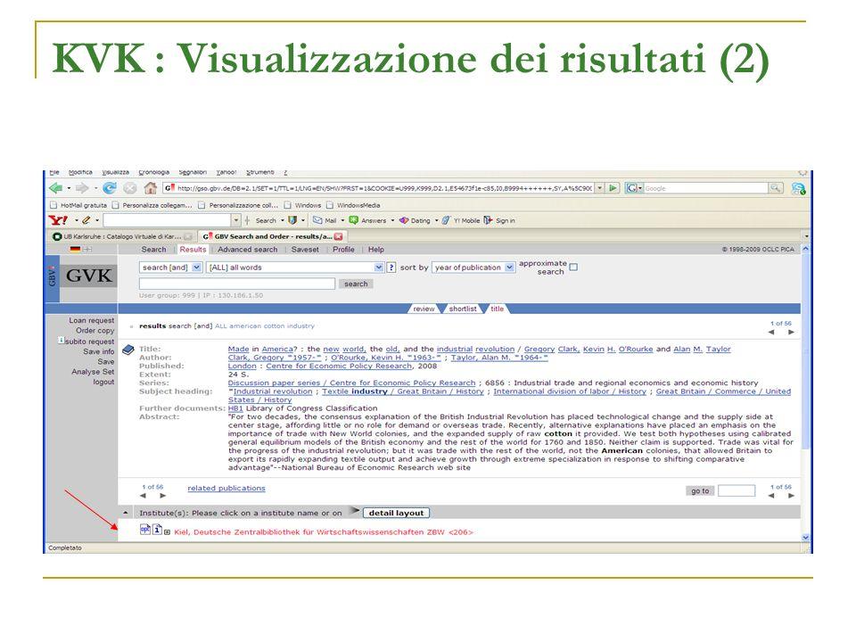 KVK : Visualizzazione dei risultati (2)