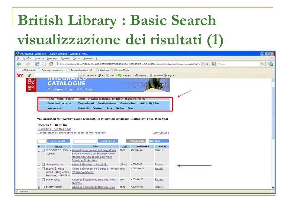 British Library : Basic Search visualizzazione dei risultati (1)