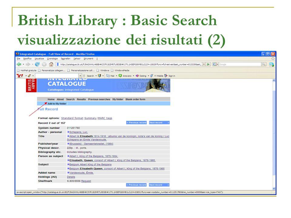 British Library : Basic Search visualizzazione dei risultati (2)