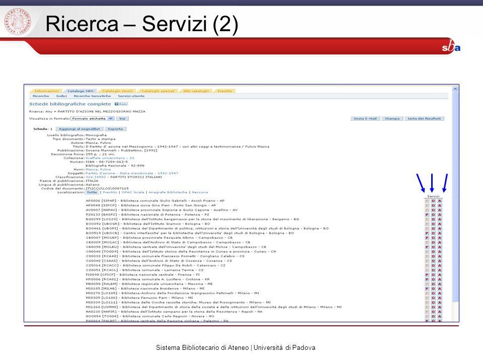 Sistema Bibliotecario di Ateneo | Università di Padova Ricerca – Servizi (2)