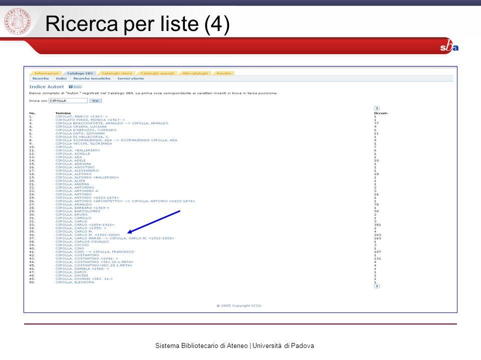 Sistema Bibliotecario di Ateneo | Università di Padova Ricerca per liste (4)