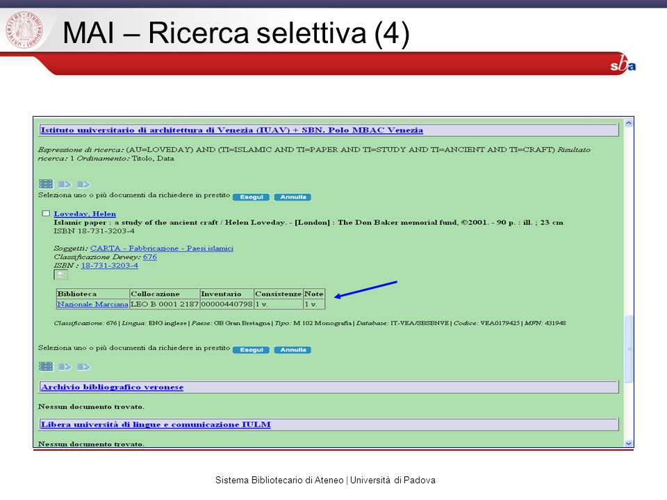 Sistema Bibliotecario di Ateneo | Università di Padova MAI – Ricerca selettiva (4)