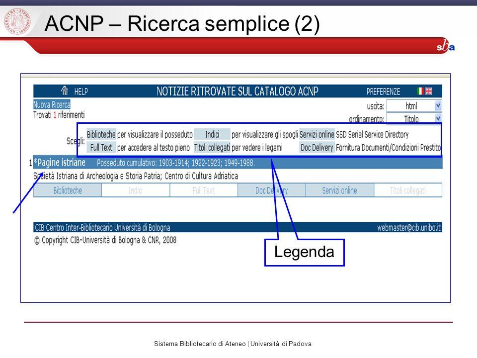 Sistema Bibliotecario di Ateneo | Università di Padova ACNP – Ricerca semplice (2) Legenda