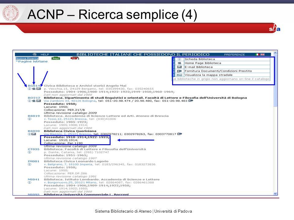 Sistema Bibliotecario di Ateneo | Università di Padova ACNP – Ricerca semplice (4)