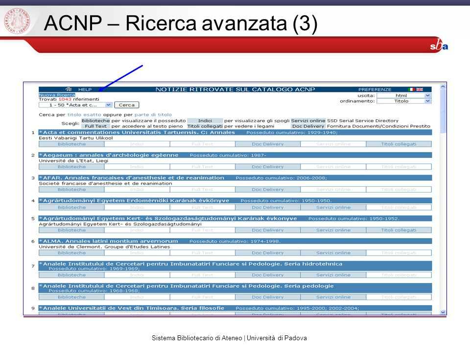 Sistema Bibliotecario di Ateneo | Università di Padova ACNP – Ricerca avanzata (3)