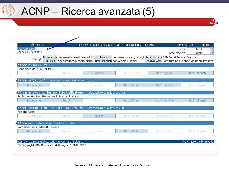 Sistema Bibliotecario di Ateneo | Università di Padova ACNP – Ricerca avanzata (5)