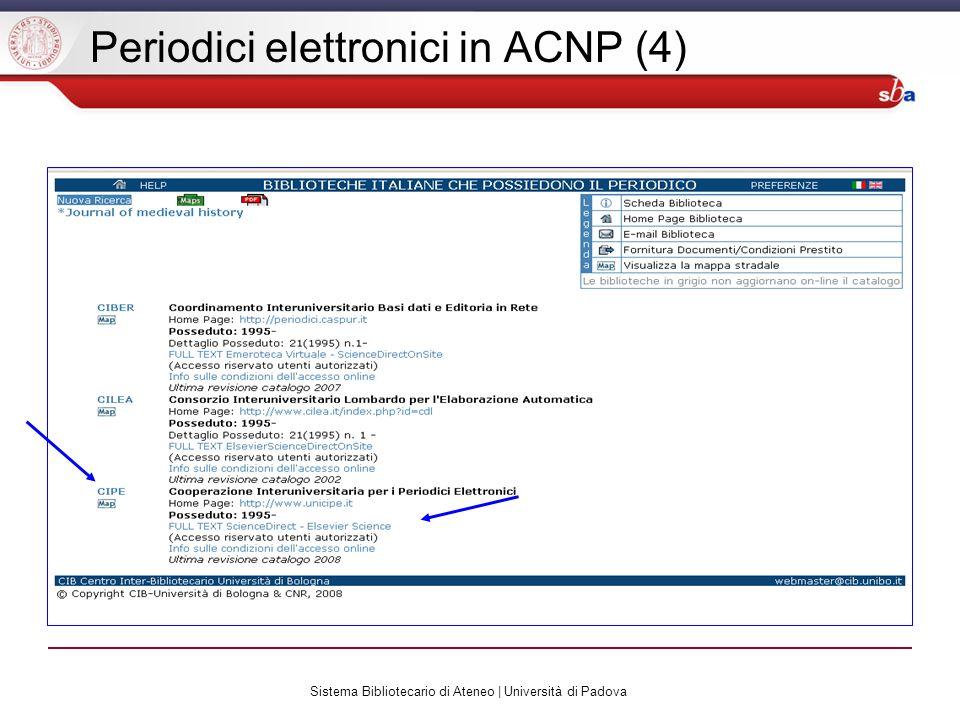 Sistema Bibliotecario di Ateneo | Università di Padova Periodici elettronici in ACNP (4)