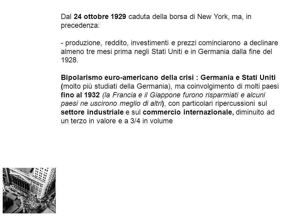 Dal 24 ottobre 1929 caduta della borsa di New York, ma, in precedenza: - produzione, reddito, investimenti e prezzi cominciarono a declinare almeno tre mesi prima negli Stati Uniti e in Germania dalla fine del 1928.