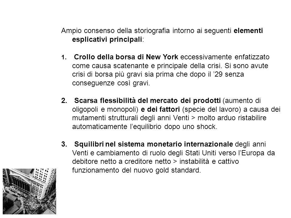 Ampio consenso della storiografia intorno ai seguenti elementi esplicativi principali: 1. Crollo della borsa di New York eccessivamente enfatizzato co