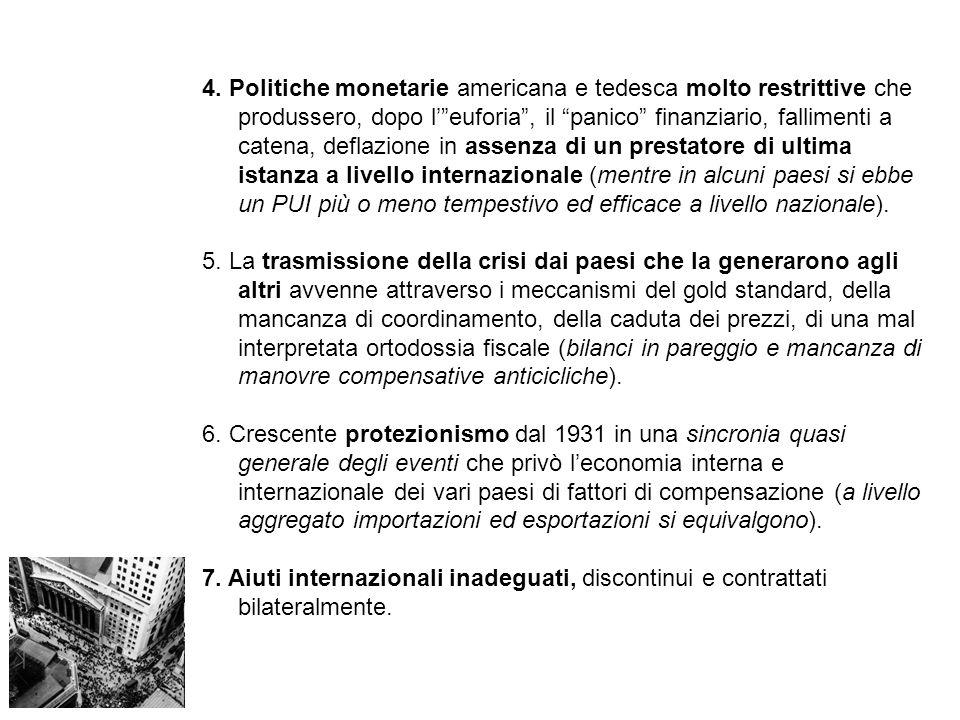 Ripercussioni finanziarie: 1.crisi e fallimento di banche (Creditanstalt, maggio 1931) > incapacità di bloccare subito il fallimento delle banche (cfr.