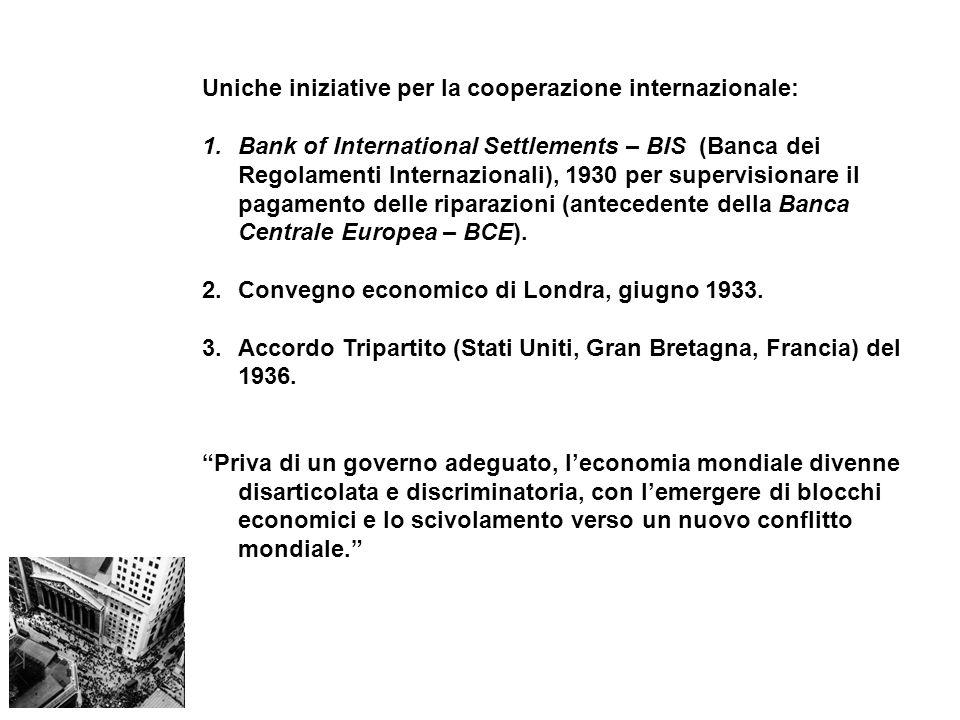Uniche iniziative per la cooperazione internazionale: 1.Bank of International Settlements – BIS (Banca dei Regolamenti Internazionali), 1930 per super