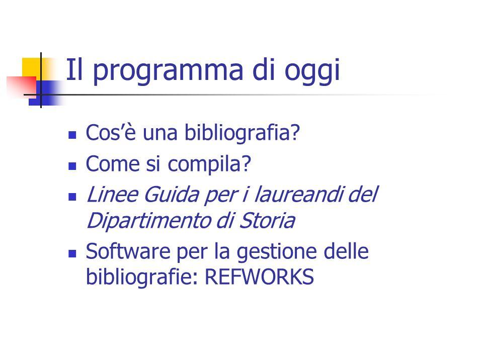 Il programma di oggi Cosè una bibliografia? Come si compila? Linee Guida per i laureandi del Dipartimento di Storia Software per la gestione delle bib