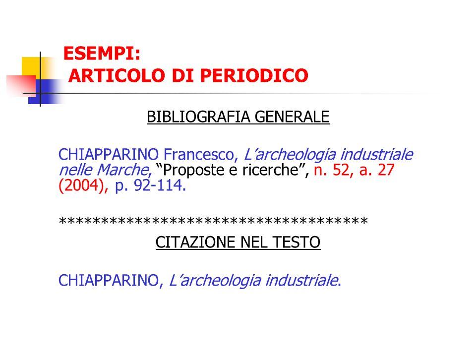 ESEMPI: ARTICOLO DI PERIODICO BIBLIOGRAFIA GENERALE CHIAPPARINO Francesco, Larcheologia industriale nelle Marche, Proposte e ricerche, n. 52, a. 27 (2