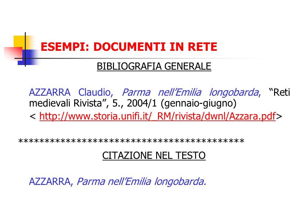 ESEMPI: DOCUMENTI IN RETE BIBLIOGRAFIA GENERALE AZZARRA Claudio, Parma nellEmilia longobarda, Reti medievali Rivista, 5., 2004/1 (gennaio-giugno) http