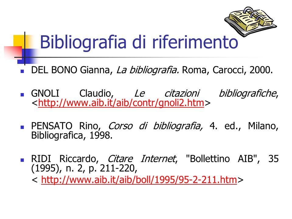 Bibliografia di riferimento DEL BONO Gianna, La bibliografia. Roma, Carocci, 2000. GNOLI Claudio, Le citazioni bibliografiche, http://www.aib.it/aib/c