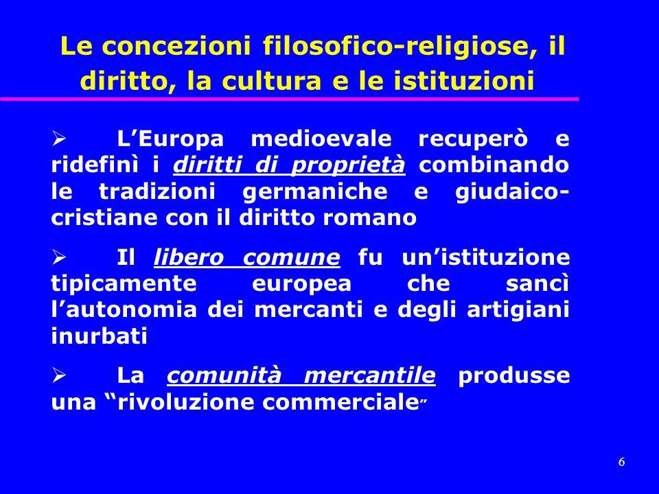 5 Le concezioni filosofico-religiose, il diritto, la cultura e le istituzioni Questa spinta tecnologica è stata collegata ad un humus filosofico-relig