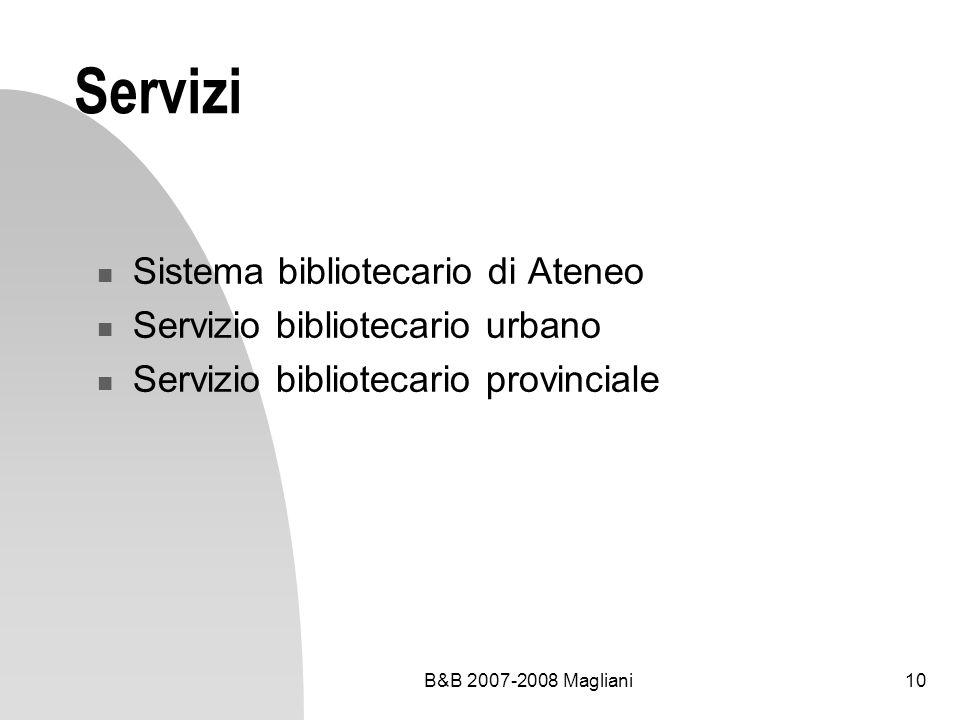 B&B 2007-2008 Magliani10 Servizi Sistema bibliotecario di Ateneo Servizio bibliotecario urbano Servizio bibliotecario provinciale